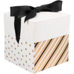 Box, Dots & Stripes, pop-up, 10x10x10cm, zwart/goud
