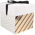 Box, Dots & Stripes, pop-up, 15x15x15cm, zwart/goud