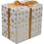 Cadeaupapier, 30cm, 200m, Glossy ice crystal, 2379, goud/Wit