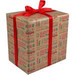 Cadeaupapier, 50cm, 200m, 70gr/m², Happy, rood/Groen