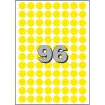 Etiket, papier, Ø15mm, geel