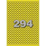 Etiket, papier, Ø8mm, geel