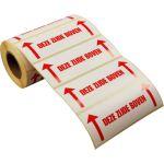 Etiket, papier, deze zijde boven, 134x50mm, wit/rood