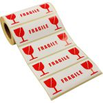 Etiket, papier, fragile, 134x50mm, wit/rood