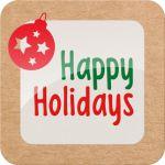 Etiket, Papier, Happy Holiday, 40x40mm, wit/rood/groen