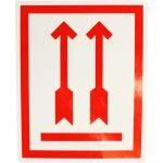Etiket, papier, rode pijl, 80x100mm, wit