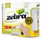 Keukenrol, Zebra Daily, 90vel, 3-laags, wit