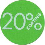 Reclame-etiket, papier, 20% korting, Ø30mm, groen