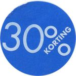 Reclame-etiket, papier, 30% korting, Ø30mm, blauw