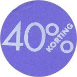 Reclame-etiket, papier, 40% korting, Ø30mm, paars