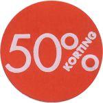 Reclame-etiket, papier, 50% korting, Ø30mm, rood