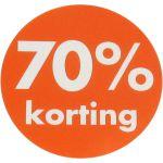 Reclame-etiket, papier, 70% korting, Ø30mm, oranje