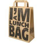 Snacktas, kraftpapier, I'M a lunch, platte handgreep, 22x10x28cm, bruin