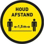 Vloersticker, Vinyl, houd afstand, Ø40cm, geel/zwart