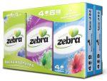 Zakdoekjes, Zebra, 4 laags, cellulose, wit